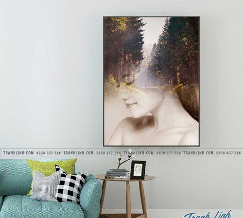 Bo tranh Canvas treo tuong trang tri phong khach co gai CG0154