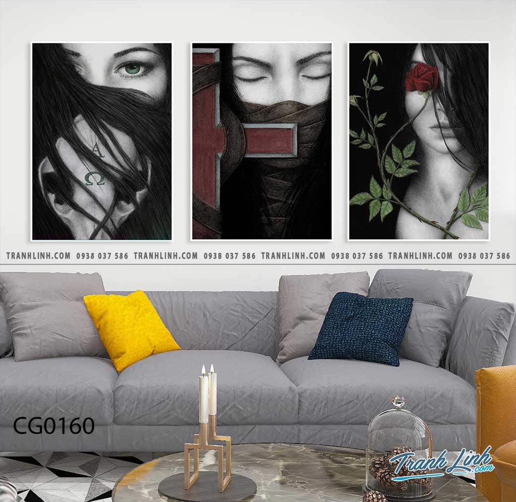 Bo tranh Canvas treo tuong trang tri phong khach co gai CG0160