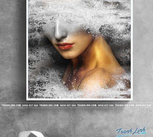 Bo tranh Canvas treo tuong trang tri phong khach co gai CG0163