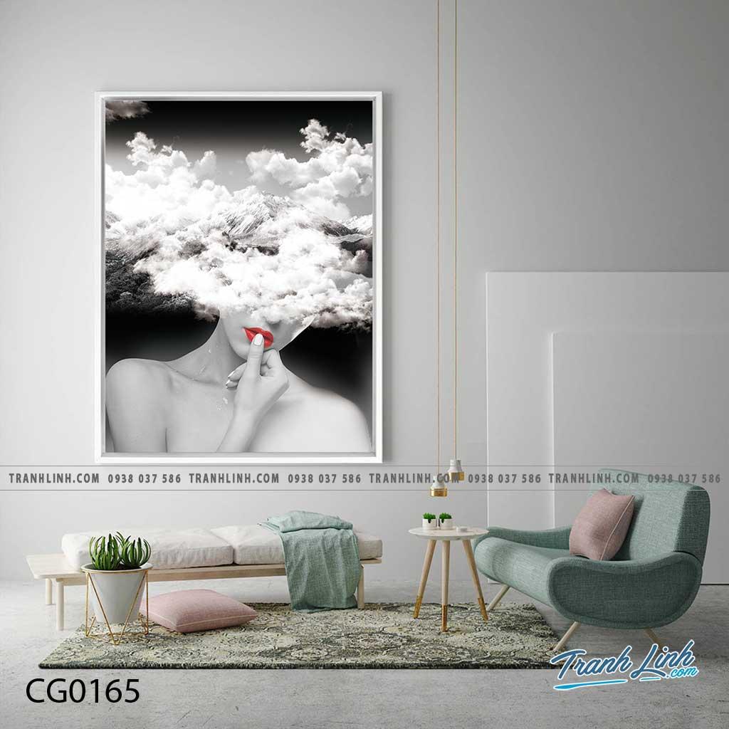 Bo tranh Canvas treo tuong trang tri phong khach co gai CG0165
