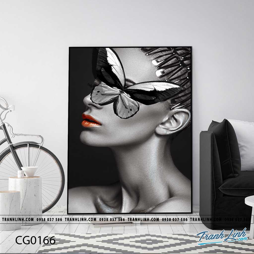Bo tranh Canvas treo tuong trang tri phong khach co gai CG0166