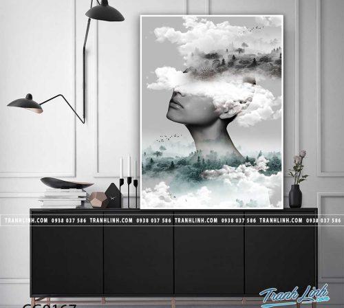 Bo tranh Canvas treo tuong trang tri phong khach co gai CG0167