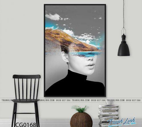 Bo tranh Canvas treo tuong trang tri phong khach co gai CG0168