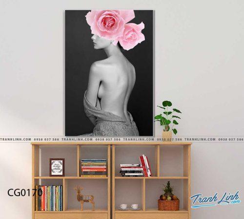Bo tranh Canvas treo tuong trang tri phong khach co gai CG0170