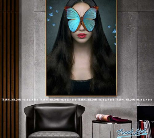 Bo tranh Canvas treo tuong trang tri phong khach co gai CG0171