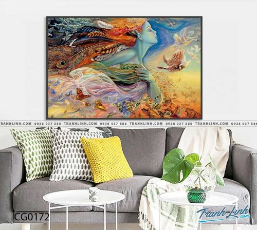 Bo tranh Canvas treo tuong trang tri phong khach co gai CG0172