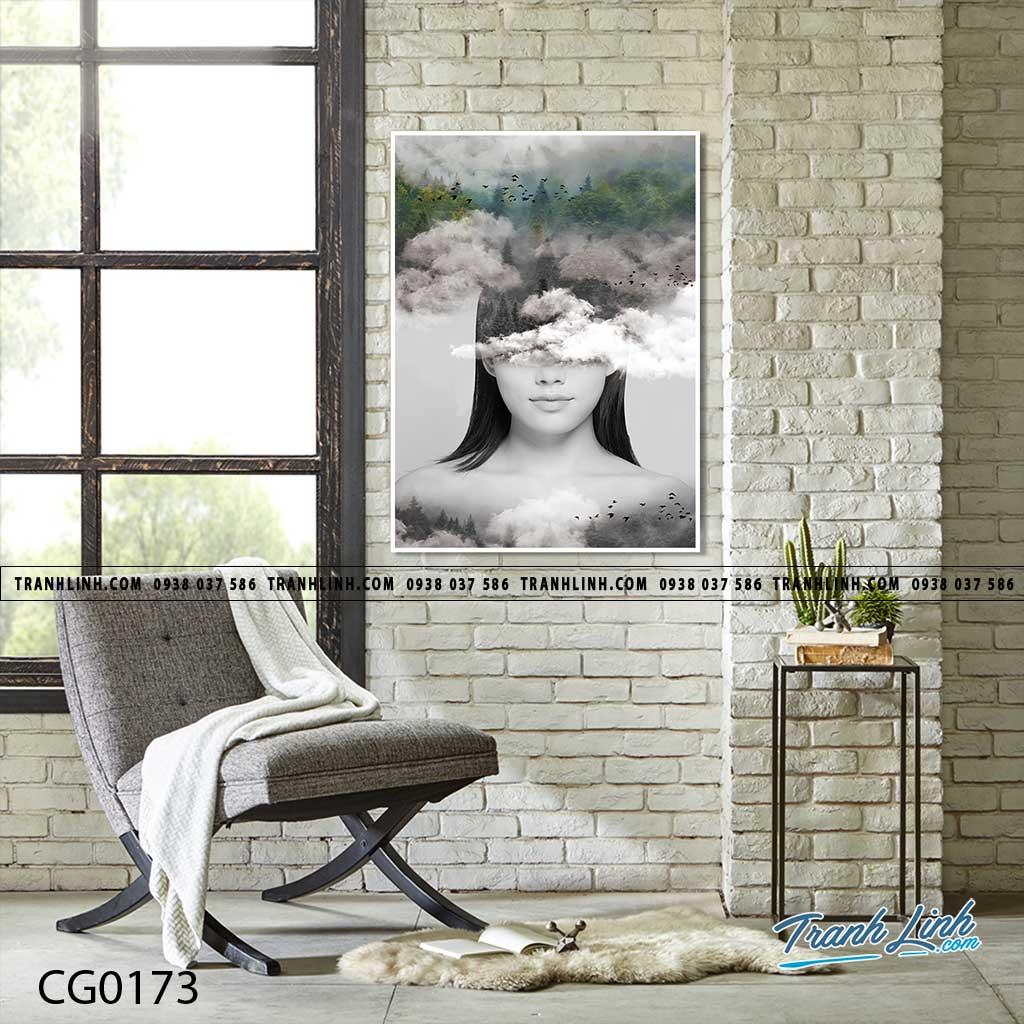 Bo tranh Canvas treo tuong trang tri phong khach co gai CG0173