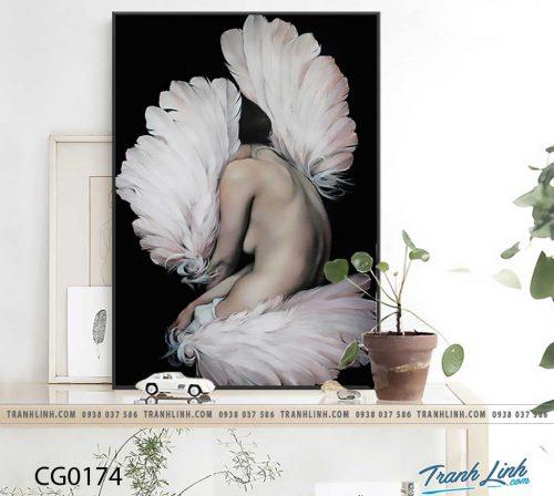 Bo tranh Canvas treo tuong trang tri phong khach co gai CG0174