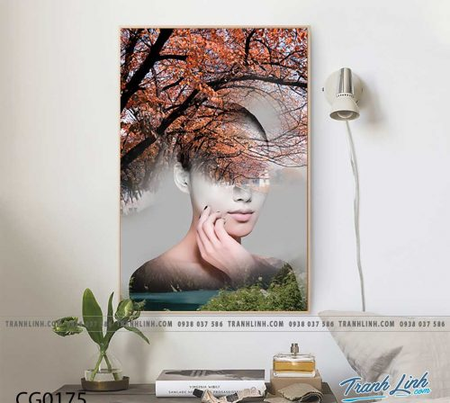 Bo tranh Canvas treo tuong trang tri phong khach co gai CG0175