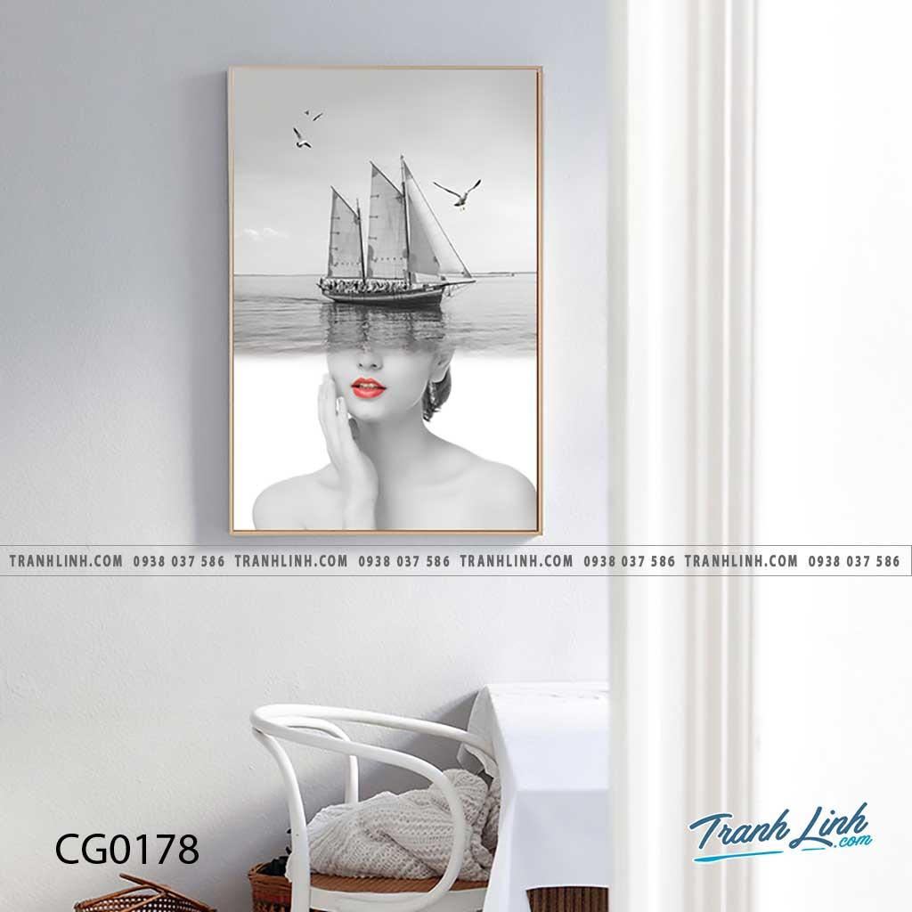 Bo tranh Canvas treo tuong trang tri phong khach co gai CG0178