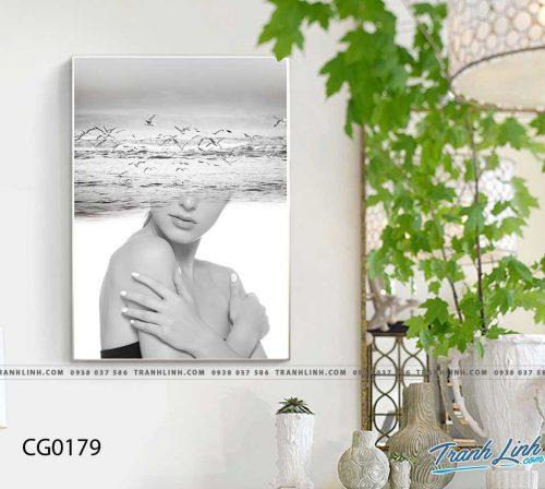 Bo tranh Canvas treo tuong trang tri phong khach co gai CG0179