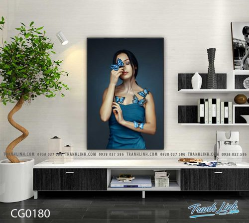 Bo tranh Canvas treo tuong trang tri phong khach co gai CG0180