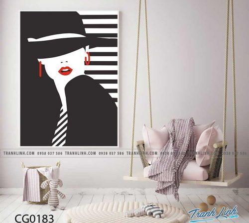 Bo tranh Canvas treo tuong trang tri phong khach co gai CG0183