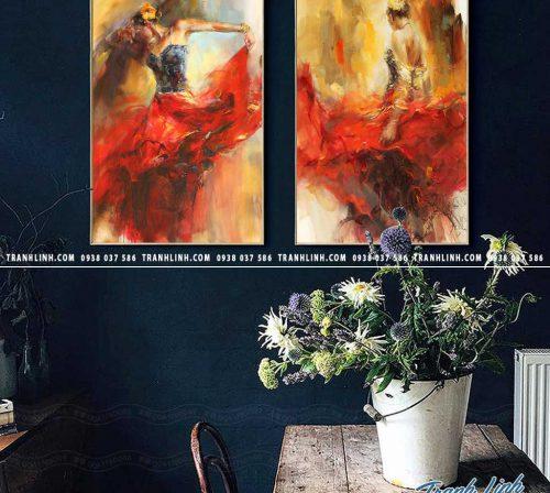 Bo tranh Canvas treo tuong trang tri phong khach co gai CG0187