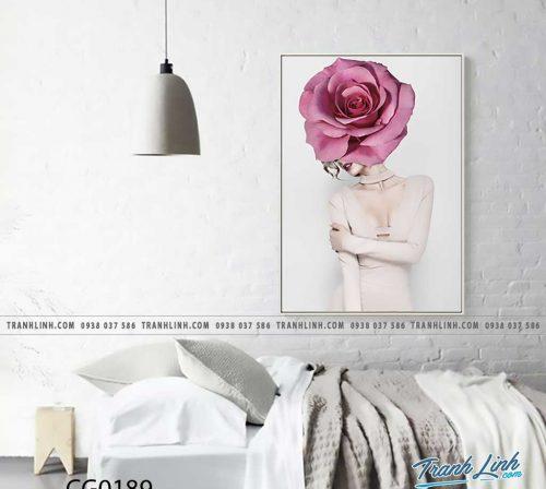 Bo tranh Canvas treo tuong trang tri phong khach co gai CG0189