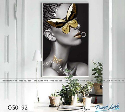 Bo tranh Canvas treo tuong trang tri phong khach co gai CG0192