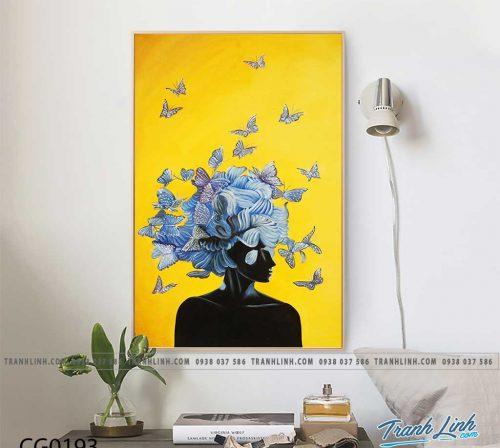 Bo tranh Canvas treo tuong trang tri phong khach co gai CG0193