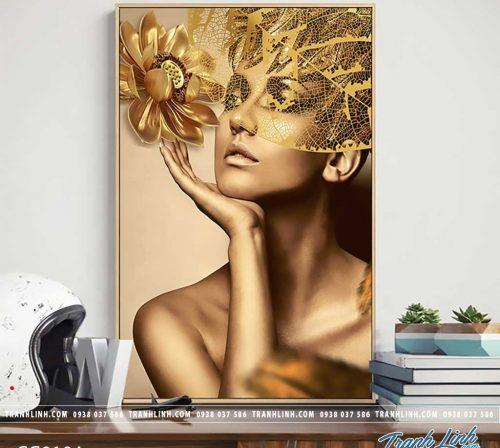 Bo tranh Canvas treo tuong trang tri phong khach co gai CG0194