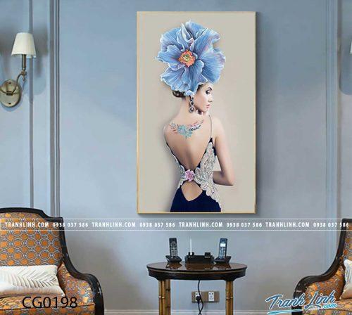 Bo tranh Canvas treo tuong trang tri phong khach co gai CG0198