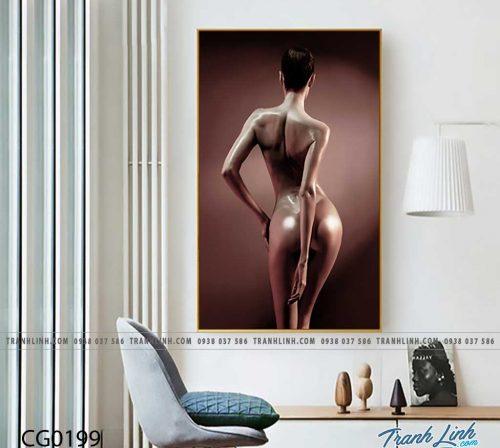 Bo tranh Canvas treo tuong trang tri phong khach co gai CG0199