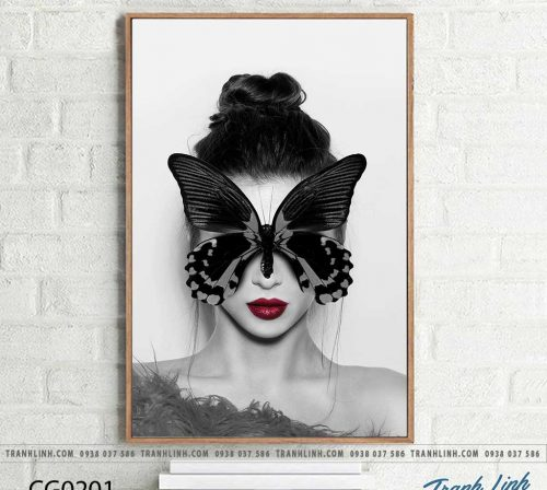 Bo tranh Canvas treo tuong trang tri phong khach co gai CG0201