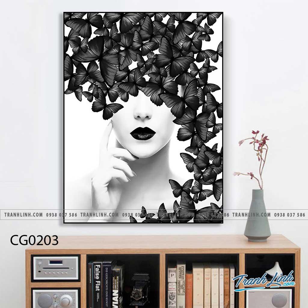 Bo tranh Canvas treo tuong trang tri phong khach co gai CG0203