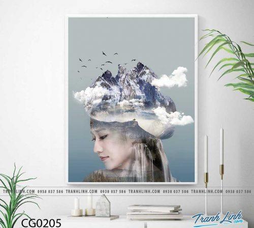 Bo tranh Canvas treo tuong trang tri phong khach co gai CG0205