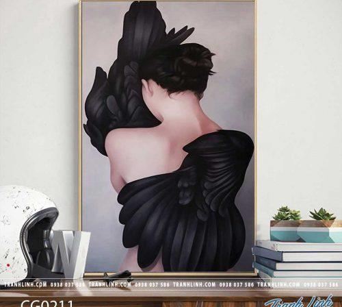 Bo tranh Canvas treo tuong trang tri phong khach co gai CG0211