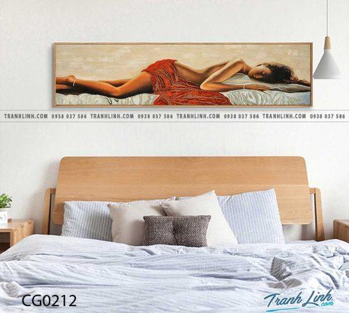 Bo tranh Canvas treo tuong trang tri phong khach co gai CG0212