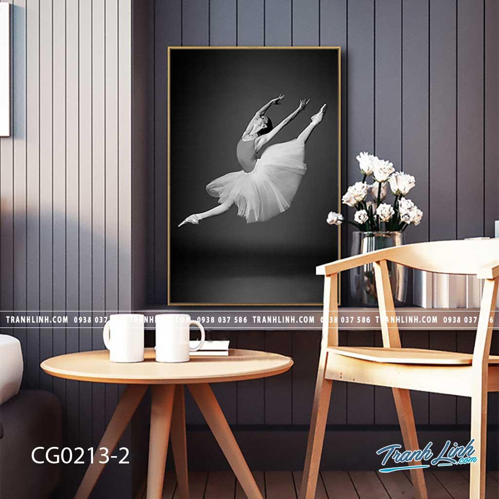 Bo tranh Canvas treo tuong trang tri phong khach co gai CG0213 1