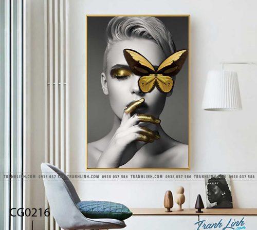 Bo tranh Canvas treo tuong trang tri phong khach co gai CG0216