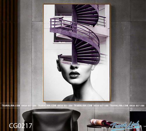 Bo tranh Canvas treo tuong trang tri phong khach co gai CG0217