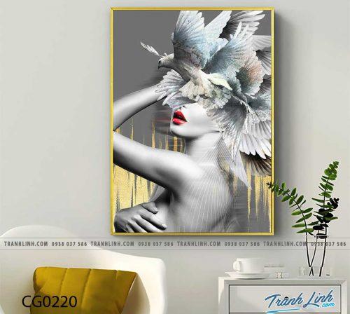 Bo tranh Canvas treo tuong trang tri phong khach co gai CG0220