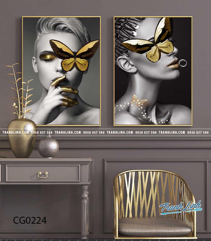 Bo tranh Canvas treo tuong trang tri phong khach co gai CG0224