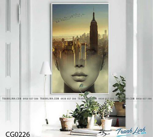 Bo tranh Canvas treo tuong trang tri phong khach co gai CG0226