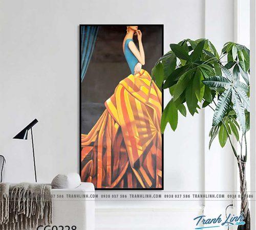 Bo tranh Canvas treo tuong trang tri phong khach co gai CG0228