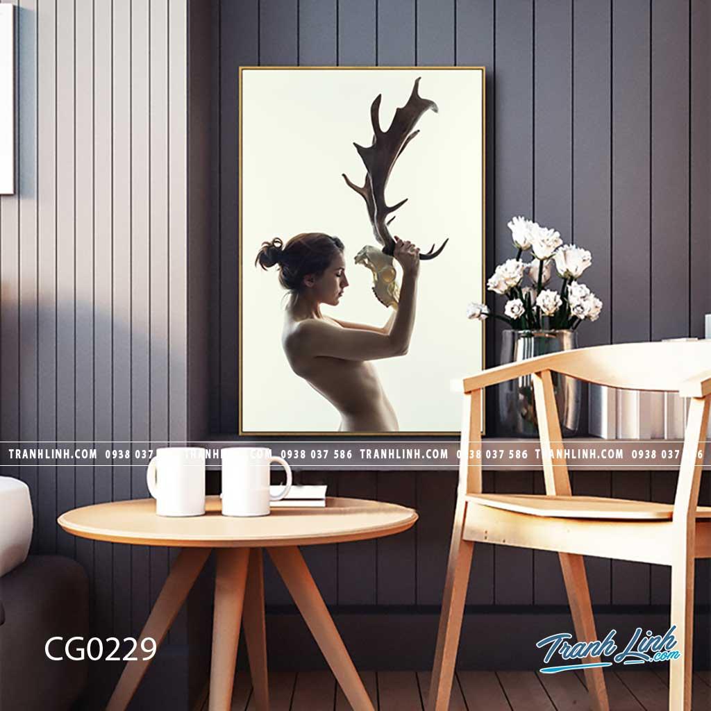 Bo tranh Canvas treo tuong trang tri phong khach co gai CG0229