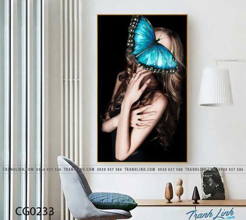 Bo tranh Canvas treo tuong trang tri phong khach co gai CG0233
