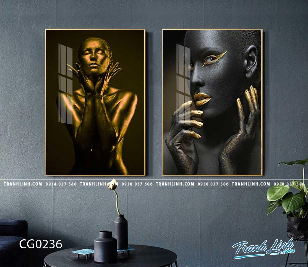 Bo tranh Canvas treo tuong trang tri phong khach co gai CG0236 1