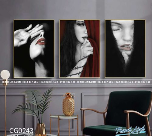 Bo tranh Canvas treo tuong trang tri phong khach co gai CG0243