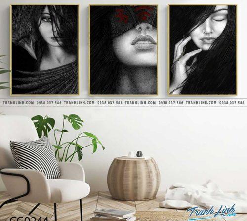 Bo tranh Canvas treo tuong trang tri phong khach co gai CG0244