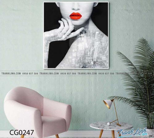 Bo tranh Canvas treo tuong trang tri phong khach co gai CG0247