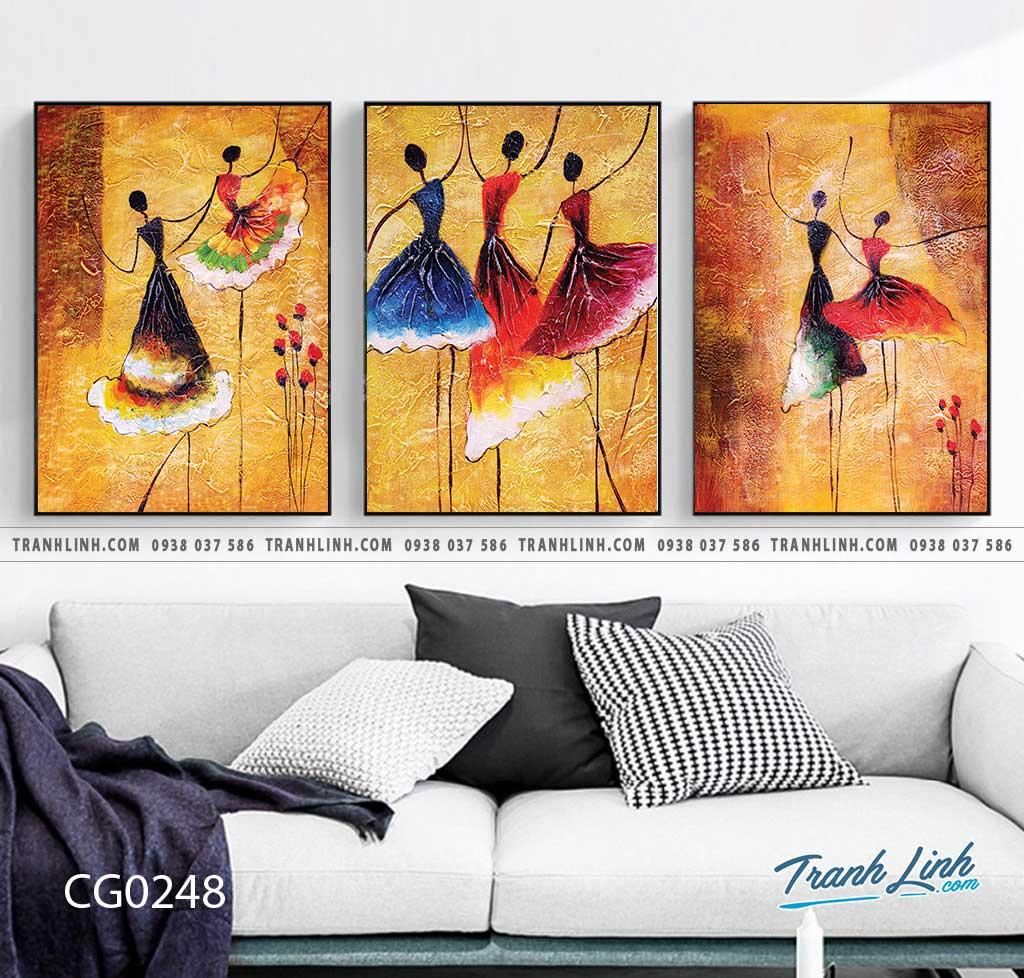 Bo tranh Canvas treo tuong trang tri phong khach co gai CG0248