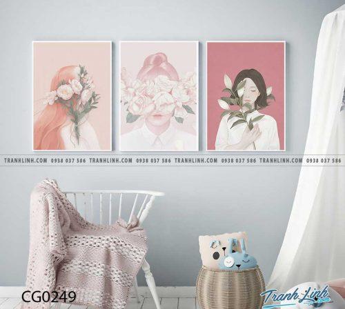 Bo tranh Canvas treo tuong trang tri phong khach co gai CG0249