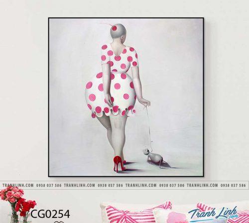 Bo tranh Canvas treo tuong trang tri phong khach co gai CG0254