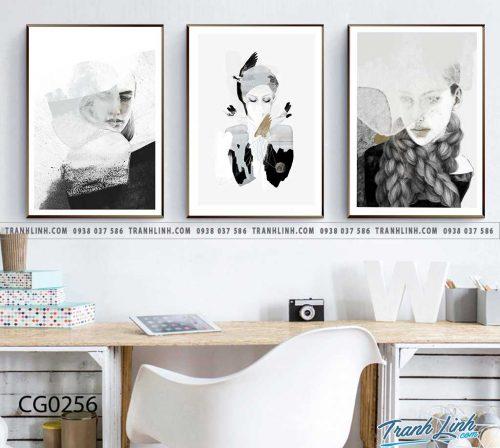 Bo tranh Canvas treo tuong trang tri phong khach co gai CG0256