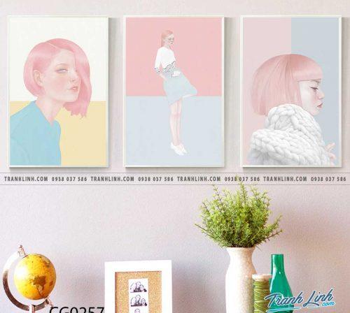Bo tranh Canvas treo tuong trang tri phong khach co gai CG0257