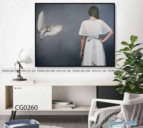 Bo tranh Canvas treo tuong trang tri phong khach co gai CG0260