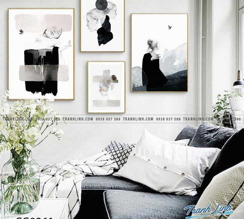 Bo tranh Canvas treo tuong trang tri phong khach co gai CG0261