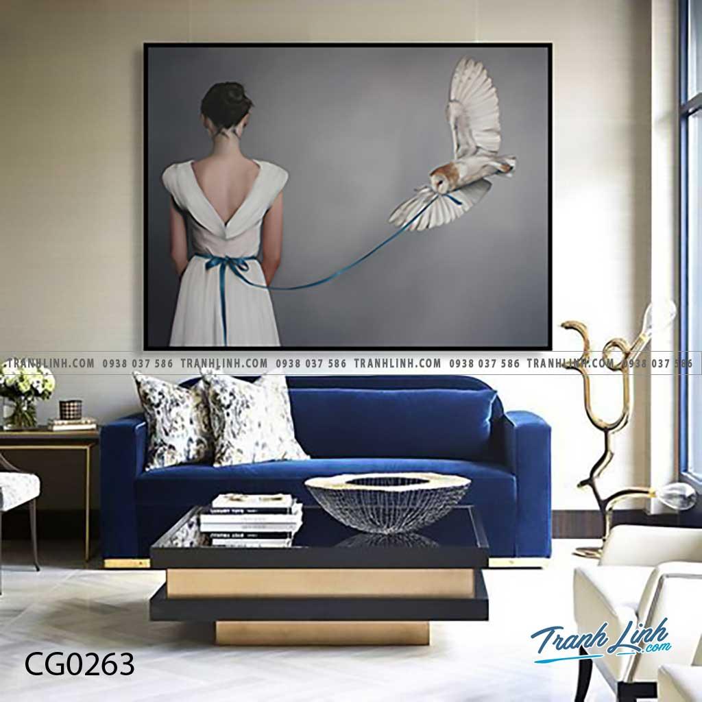 Bo tranh Canvas treo tuong trang tri phong khach co gai CG0263
